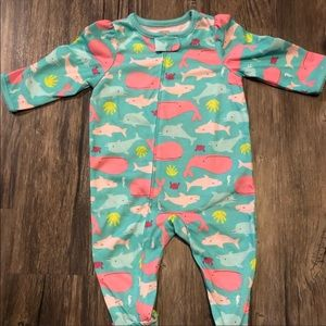 ✨3/$15 Just One You Whale & Dolphin Footie Jammies